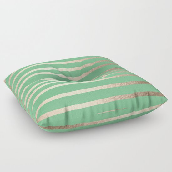 Green Floor Pillows : Abstract Drawn Stripes Gold Tropical Green Floor Pillow by Simple Luxe Society6
