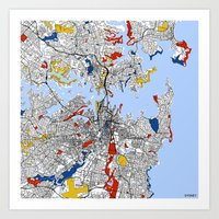sydney Art Prints featuring Sydney by Mondrian Maps