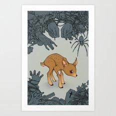 Deer in the Headlights Art Print