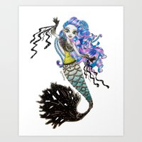 monster high Art Prints featuring Sirena Von Boo - Monster High by Amana HB