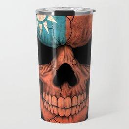 Dark Skull with Flag of Taiwan Travel Mug