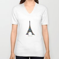 eiffel tower V-neck T-shirts featuring eiffel tower by PINT GRAPHICS