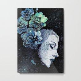 Obey Me: Blue (graffiti flower woman portrait) Metal Print
