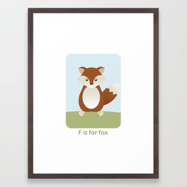 F is for Fox - Woodland Animals Framed Art Print