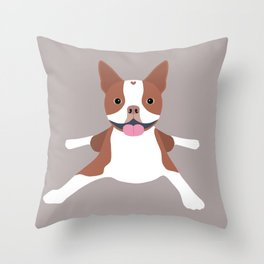 red boston terrier Throw Pillow