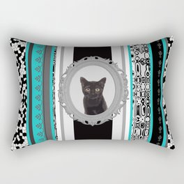 Black Cat Frame turquoise stripes pattern Rectangular Pillow