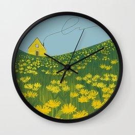 Little Yellow House In A Dandelion Field Wall Clock