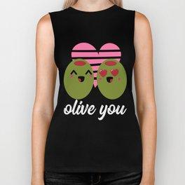 Olive You | I Love You | Valentine's Day Heart Biker Tank