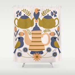 Folk art teapots and birds Shower Curtain