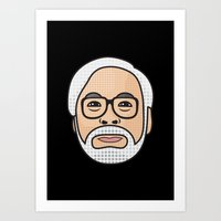 hayao miyazaki Art Prints featuring Hayao Miyazaki Portrait - Black by Cedric S Touati