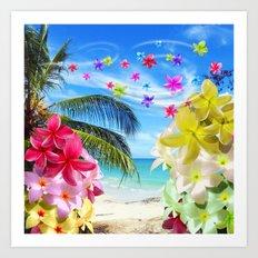 Tropical Beach and Exotic Plumeria Flowers Art Print