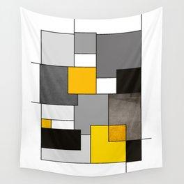 Black Yellow and Gray Geometric Art Wall Tapestry