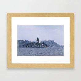 Misty Bled Lake Framed Art Print