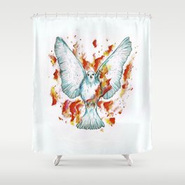 Dove on Fire Shower Curtain