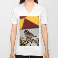 sparrow V-neck T-shirts featuring Sparrow by IowaShots