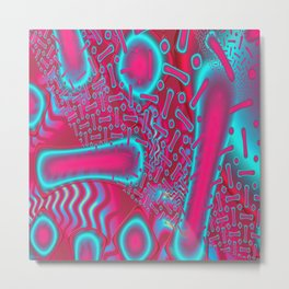 RazBerries Psychedelic Fused Glass Fractal Metal Print