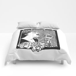 Lady Day (Billie Holiday block print blk) Comforters