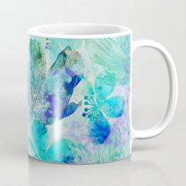 blue turquoise mixed media flower illustration Coffee Mug