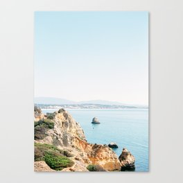 Coast of Lagos, Algarve in Portugal   Bright and airy seascape photography art Canvas Print