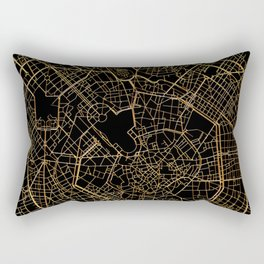 Black and gold Milan map, Italy Rectangular Pillow