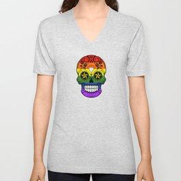 Gay Pride Rainbow Flag Sugar Skull with Roses Unisex V-Neck