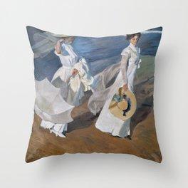 Joaquin Sorolla Y Bastida - Strolling along the seashore Throw Pillow