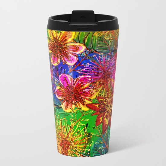 Tropical Heat-Colorful Floral Exotic Tropical Flower Pattern Metal Travel Mug