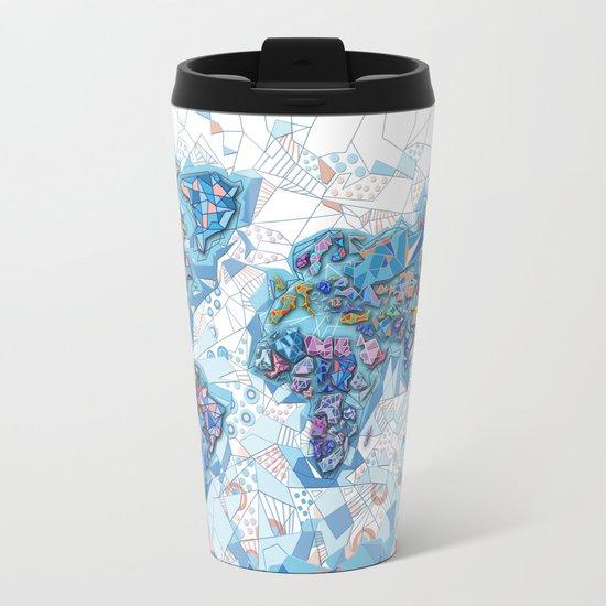 world map geometry white Metal Travel Mug