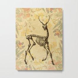 Prancing Deer Skeleton Floral Metal Print