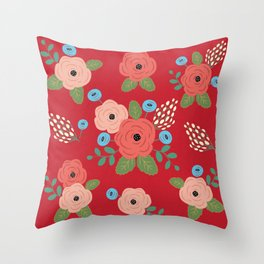 Flower Pattern, Pink Blue Flowers on Red, Vintage Floral Design Throw Pillow