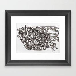 Lower Manhattan Line Framed Art Print