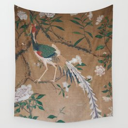 Antique French Chinoiserie in Tan & White Wall Tapestry