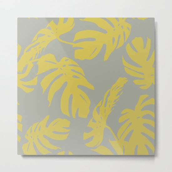 Simply Mod Yellow Palm Leaves on Retro Gray Metal Print