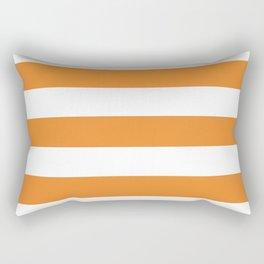 Cadmium orange - solid color - white stripes pattern Rectangular Pillow