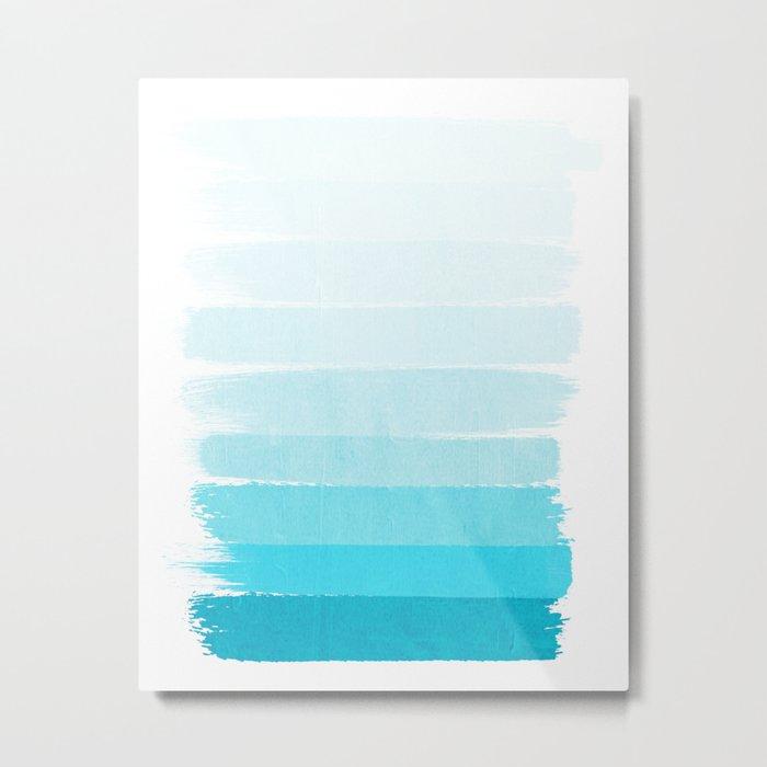 Isla - Ombre Brushstroke - Blue Turquoise, Bright, Summer, Tropical, Beach Ocean Metal Print