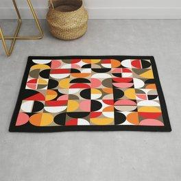 Mid Century Geometric Pattern // Dark Brown, Coral, Pink, Marigold Yellow, Red, Orange, Taupe, White // Geo Art Rug