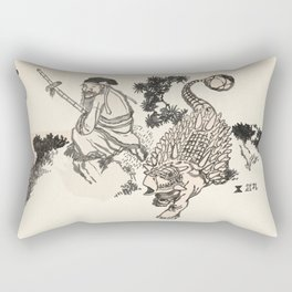 Old Man & Ankylosaurus Rectangular Pillow