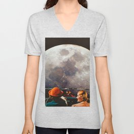 Road trip to the moon Unisex V-Neck