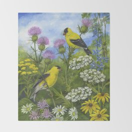 Goldfinches and Thistle Throw Blanket