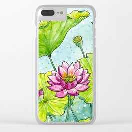 Lotus Flowers Clear iPhone Case