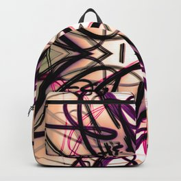 Loopy Lines Abstract Art Plum and Peach Backpack