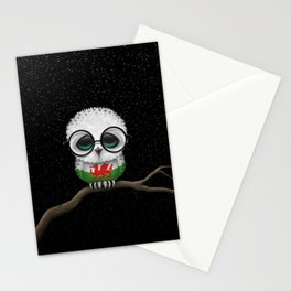 Baby Owl with Glasses and Welsh Flag Stationery Cards