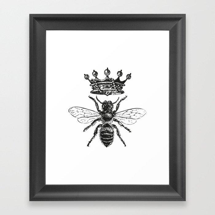 Queen Bee | Vintage Bee with Crown | Black and White | Gerahmter Kunstdruck