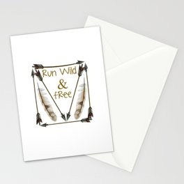 Run Wild and Free Graphic Arrow T-shirt Stationery Cards
