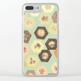 Retro Ruffled Hexagons Clear iPhone Case