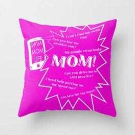 Swim Mom Smartphone PINK/WHITE Throw Pillow