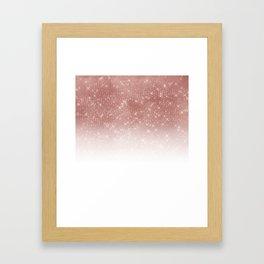 Girly Faux Rose Gold Sequin Glitter White Ombre Framed Art Print