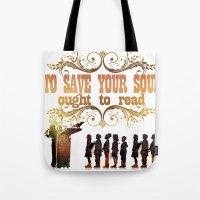 read Tote Bags featuring Read by Ƃuıuǝddɐɥ-sı-plɹoʍ-ɹǝɥʇouɐ