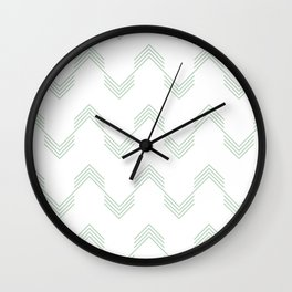 Deconstructed Chevron in Pastel Cactus Green on White Wall Clock