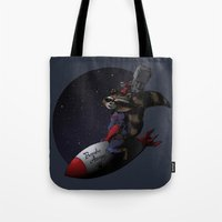 bombs away Tote Bags featuring Bombs Away! by I.Nova